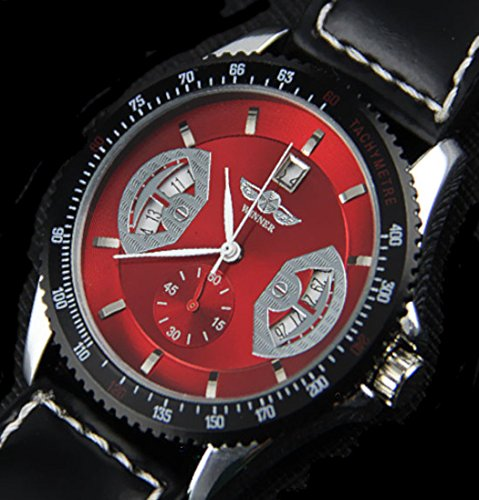 Winner U8044 Unisex Stunning Automatic Mechanical Waterproof Wrist Watch with Calendar Function Faux Leather Band Red