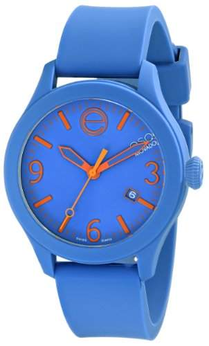 ESQ by Movado ESQ One Unisex-Armbanduhr 43mm Armband Silikon Blau + Gehaeuse Schweizer Quarz Datum 07301464