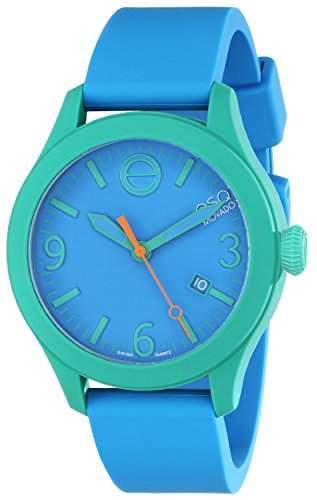 ESQ by Movado ESQ One Unisex-Armbanduhr 43mm Armband Silikon Blau + Gehaeuse Schweizer Quarz Datum 7301465