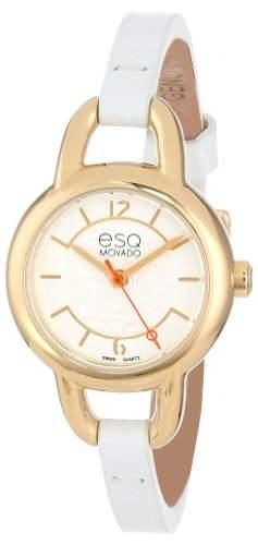 Esq Damen 24mm Weiss Leder Armband Edelstahl Gehaeuse Mineral Glas Uhr 7101450