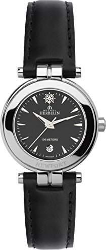 Michel Herbelin 1285614N Damen Armbanduhr, Leder, Farbe: Schwarz