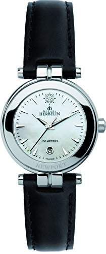 Michel Herbelin Damen-Armbanduhr 1285619N Damen-Armband, Leder, Farbe: schwarz