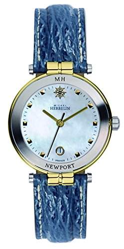 Michel Herbelin Damen-Armbanduhr Newport Yacht Club Analog Quarz Leder 12866T19