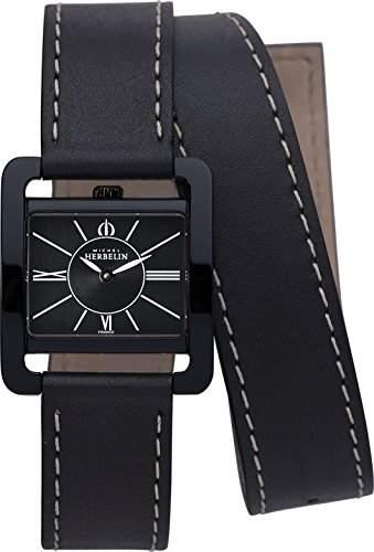 Michel Herbelin 17137N24LN Damen-Armbanduhr, Leder, Farbe: Schwarz