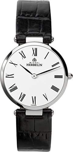 Michel Herbelin Damen-Armbanduhr 1734301N Damen-Armband, Leder, Farbe: schwarz