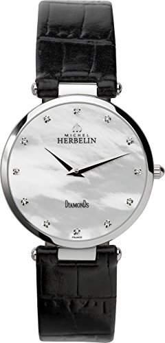 Michel Herbelin Damen-Armbanduhr 1734389N Damen-Armband, Leder, Farbe: schwarz