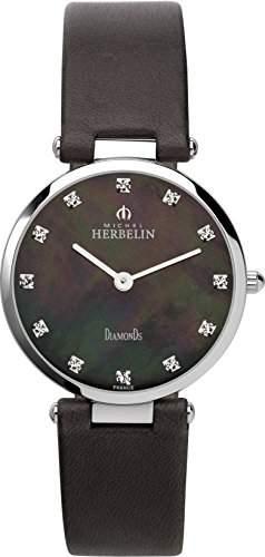 Michel Herbelin Damen-Armbanduhr 1734399BR Damen-Armband, Leder, Farbe: schwarz
