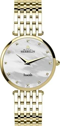 Michel Herbelin Damen Midi Epsilon Bct WomenArmbanduhr Analog Edelstahl GoldBP89 17345 Armband vergoldet
