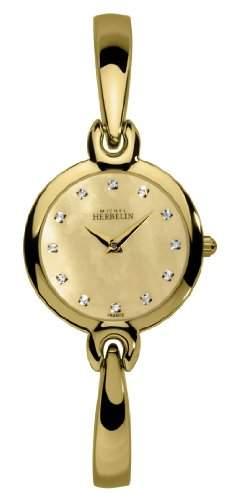 Michel Herbelin Damen Armbanduhr Salambo Analog Edelstahl gold 17402BP53