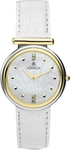 Michel Herbelin Damen-Armbanduhr Analog leder weiss 17465T59BLA