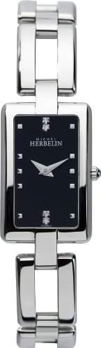 WomenMichel Herbelin Herren Quarzuhr mit schwarzem Zifferblatt Analog-Anzeige und Silber-Edelstahl-Armband 17466-B54
