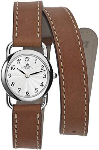 Michel Herbelin 1746728GOLDamen Armbanduhr, Leder, Farbe: Braun