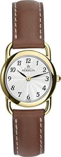 Michel Herbelin Damen-Armbanduhr 17467P28GO Damen-Armband, Leder, Farbe: braun