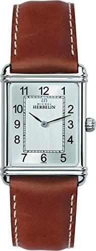 Michel Herbelin Art Deco Herren Quarzuhr mit grauem Zifferblatt Analog-Anzeige und braunem Lederband 1746822go