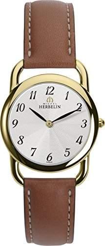 Michel Herbelin Damen-Armbanduhr 17477P28GO Damen-Armband, Leder, Farbe: braun