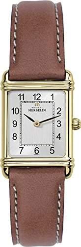 Michel Herbelin Damen-Armbanduhr 17478P22GO Damen-Armband, Leder, Farbe: braun