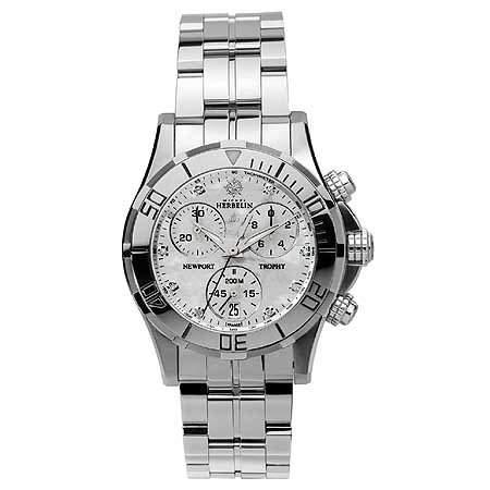 Michel Herbelin Newport Trophy Grand Sport Damen Chronograph silber 3459189B
