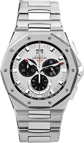 Michel Herbelin Odyssee Chrono Herren Quarz-Armbanduhr mit Silber Zifferblatt Chronograph-Anzeige und Silber Edelstahl Armband 36631B23