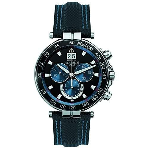 Michel Herbelin Newport Yacht Club Herren Chronograph blausilberschwarz 36655AN65