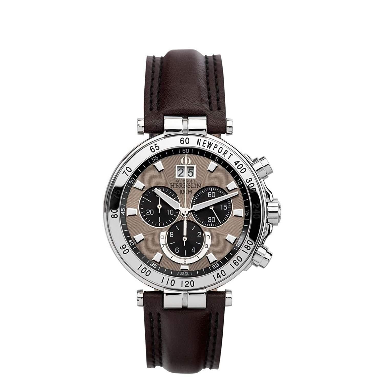 Michel Herbelin Newport Yacht Club herren Quarz-Uhr mit Braun Zifferblatt Chronograph-Anzeige und schwarz Lederband 36655AP27