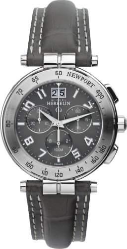 Michel Herbelin Herren-Armbanduhr Newport Chronograph leder grau 3665722GR