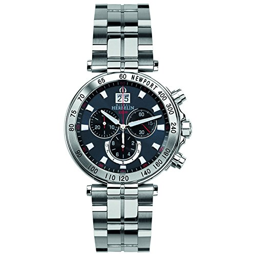 Michel Herbelin Newport Yacht Club Herren Chronograph silber blauschwarz 36695 B45