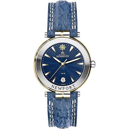 Michel Herbelin Newport Herrenuhr blau goldfarben silber 12255 T35