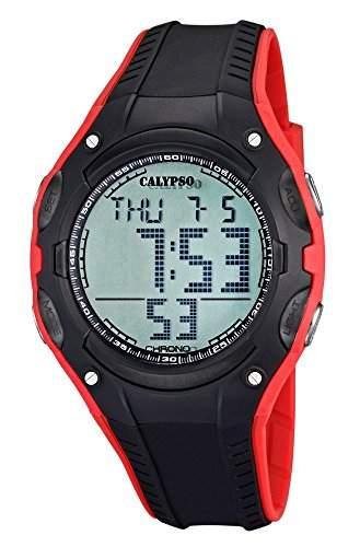 Calypso Watches HerrenJugend Armbanduhr Digitaluhr Weltzeit SchwarzRot K56142