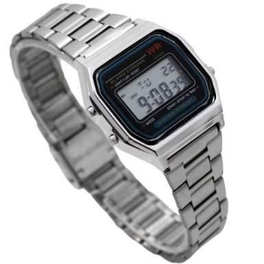 Unisex Digital Armbanduhr Uhr 80s Eighties Style Farbe: Silbern