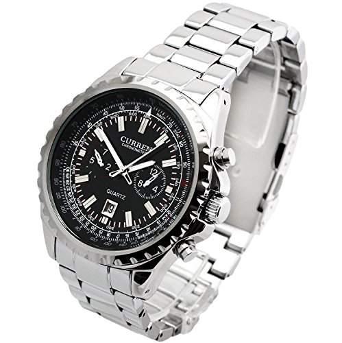 Curren Hochwertige Herren-Armbanduhr XL Fliegeruhr Analog Edelstahl