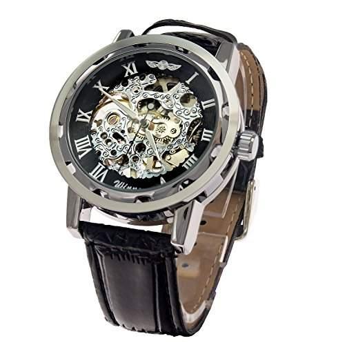 Oramics Winner Herren Armbanduhr mit Automatikuhrwerk und Lederarmband Schwarz  Silber