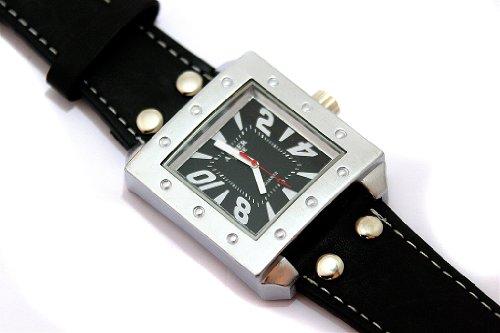 Designer Amber Time Herren Armbanduhr Uhr Schwarz Silber