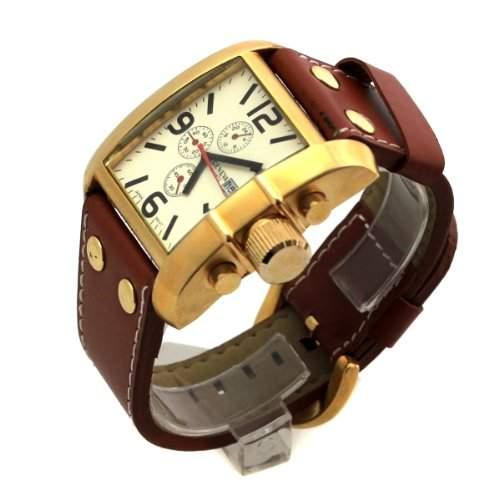Designer Herren Armbanduhr Quartz mit Datumsanzeige Analoge Uhr in Gold-Braun