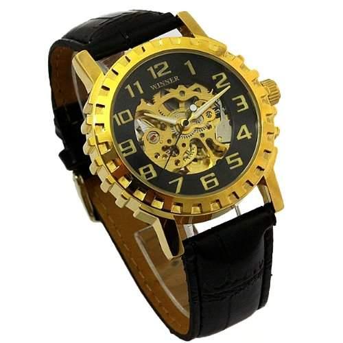 Original Oramics Winner Skelettuhr Herren Armbanduhr Analog Uhr Hammer Design in Gold Schwarz
