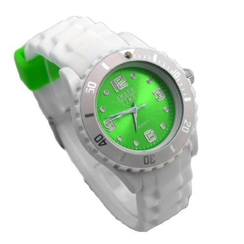 New Style Silikon Armbanduhr in knalligen Farben Amber Time Analog Uhr Hellgruen Weiss
