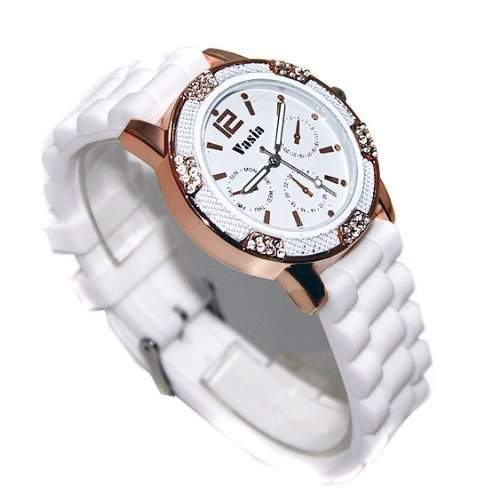 Trend-Armbanduhr Uhr VASIA White Icy Bronze NEU
