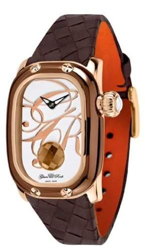 Glam Rock Unisex-Quarz-Uhr mit weissem Zifferblatt Analog-Anzeige und weisse Lederband 0962189