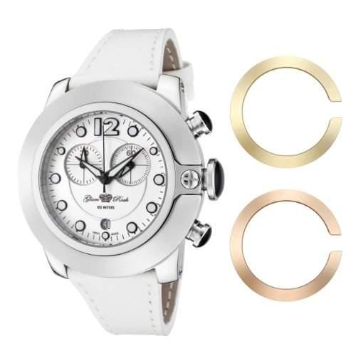 Glam Rock Unisex Quartz-Uhr mit weissem Zifferblatt Analog-Anzeige und Lederband 0962229