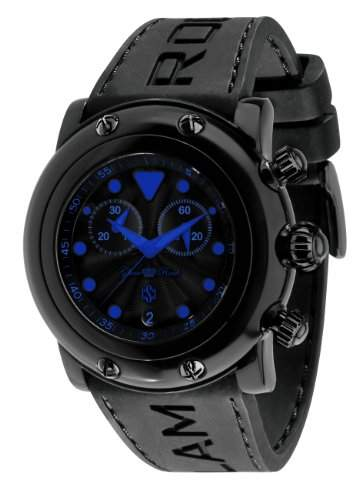 Glam Rock Unisex Quarzuhr mit schwarzem Zifferblatt Analog-Anzeige und 0962399 Silikon Armband