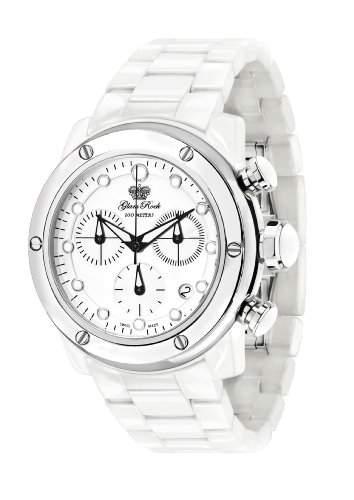 Glam Rock Unisex Quartz-Uhr mit weissem Zifferblatt Analog-Anzeige und 0962549 Keramik-Armband