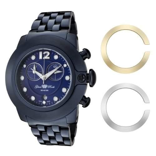 Glam Rock Unisex Quarzuhr mit blauem Zifferblatt Analog-Anzeige und-Armband Edelstahl 0962579