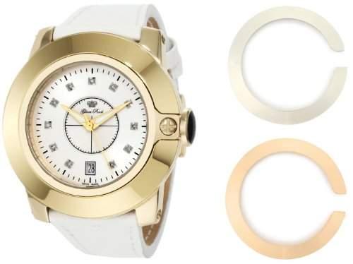 Glam Rock Unisex Quartz-Uhr mit weissem Zifferblatt Analog-Anzeige und Lederband 0962589