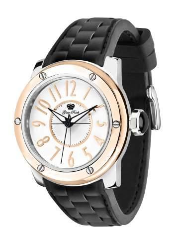 Glam Rock Unisex Quartz-Uhr mit weissem Zifferblatt Analog-Anzeige und Schwarz-Silikon-Buegel 0962649