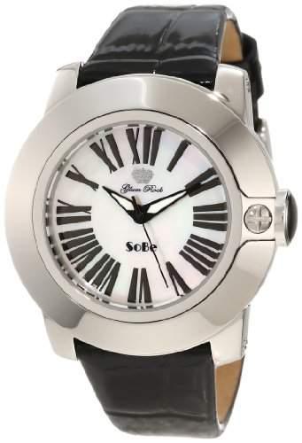 Glam Rock 0962759 Unisex-Quarz-Uhr mit weissem Zifferblatt Analog-Anzeige und schwarzem Lederarmband GR31011