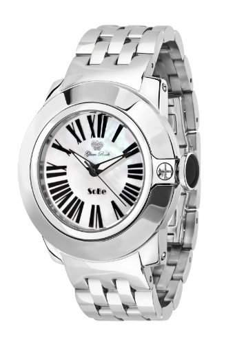 Glam Rock Unisex Quartz-Uhr mit weissem Zifferblatt Analog-Anzeige und Silber-Edelstahl-Armband 0962819