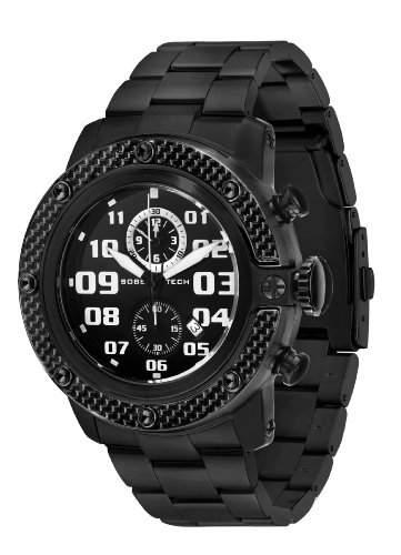 Glam Rock Unisex Quarzuhr mit schwarzem Zifferblatt Analog-Anzeige und Schwarz-Edelstahl-Armband 0962859