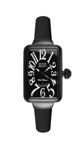 Glam Rock Damen-Armbanduhr Art Deco Collection Analog Silikon Schwarz 0962952
