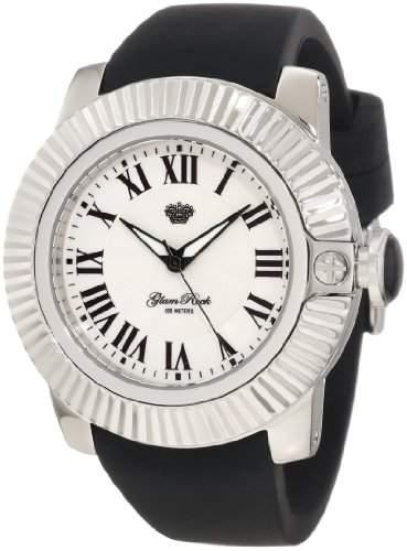 Glam Rock GR32009 Unisex Quartz-Uhr mit weissem Zifferblatt Analog-Anzeige und Schwarz-Silikon-Buegel GR32009