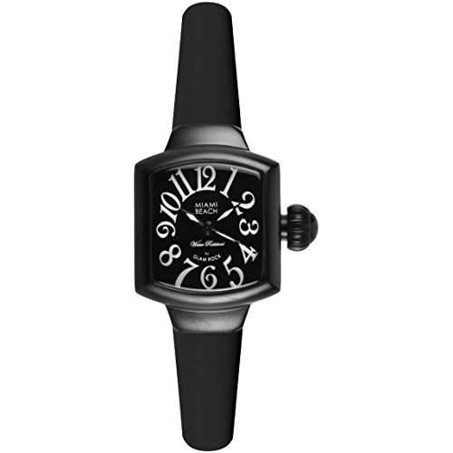 Glam Rock Miami Beach Art Deco Damen Schwarz Silizium Armband Uhr MBD27021