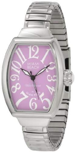 Glam Rock Miami Beach Art Deco Damen Mineral Glas Uhr MBD27138